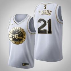 Philadelphia 76ers Joel Embiid & 21 Golden Edition Weiß Jersey