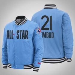 Joel Embiid Männer 76ers & 21 Blue 2020 NBA All-Star Game Eastern Conference Spielfeldrand in voller Schnapp Jacke