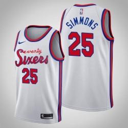 76ers 2019-20 Ben Simmons & 25 weißes Holz Classics Jersey