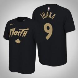 Toronto Raptors und 9 Serge Ibaka verdient Schwarz 2020 Saison Name & Nummer T-Shirt