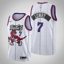 Raptors 2019-20 Kyle Lowry & 7 White Throwback Jersey
