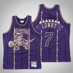 Toronto Raptors Kyle Lowry & 7 Gold Lila 2020 CNY Swingman Mitchell & Ness Throwback Jersey