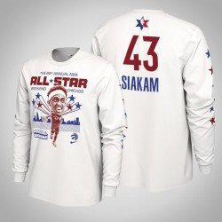 Raptors Pascal Siakam & 43 2020 NBA All-Star Weekend Spieler-Grafik-Langarmshirt Weiß T-Shirt
