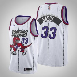 Raptors 2019-20 Marc Gasol & 33 Weiß Throwback Jersey