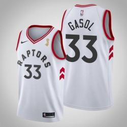 Toronto Raptors Marc Gasol & 33 Weiß 2019 NBA Finals Champion Jersey - Verband
