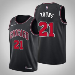 Männer Chicago Bulls Thaddeus Young & 21 Black Statement Jersey