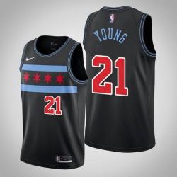 Männer Chicago Bulls Thaddeus Young & 21 Black City Jersey