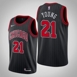 2019-20 Bulls Thaddeus Young & 21 Black Jersey - Statement Ausgabe