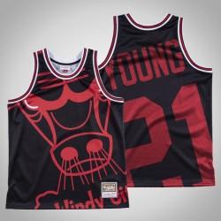 Herren Bulls Thaddeus Young & 21 Black Big Gesicht Hartholz Classics Jersey