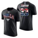 Herren Michael Jordan Chicago Bulls # 23 Independence Day Banner Welle Stars # Stripes schwarze T-Shirt