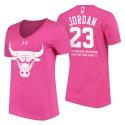 Frauen-Michael Jordan Chicago Bulls # 23 Tag der Mutter rosa T-Shirt mit der Nachricht