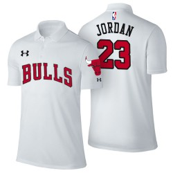 Herren Michael Jordan Chicago Bulls # 23 Verband Weiß Spieler Performance Polo