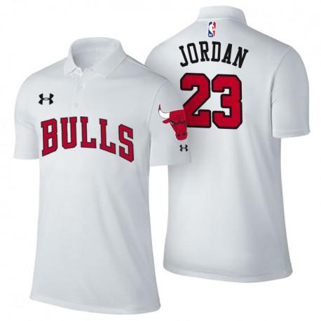 Herren Michael Jordan Chicago Bulls & 23 Verband Weiß Spieler Performance Polo