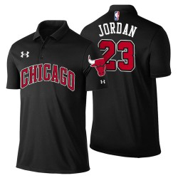 Herren Michael Jordan Chicago Bulls # 23 Statement Schwarz Spieler Performance Polo