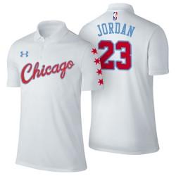 Herren Michael Jordan Chicago Bulls # 23 Stadt Ausgabe Weiß Spieler Performance Polo