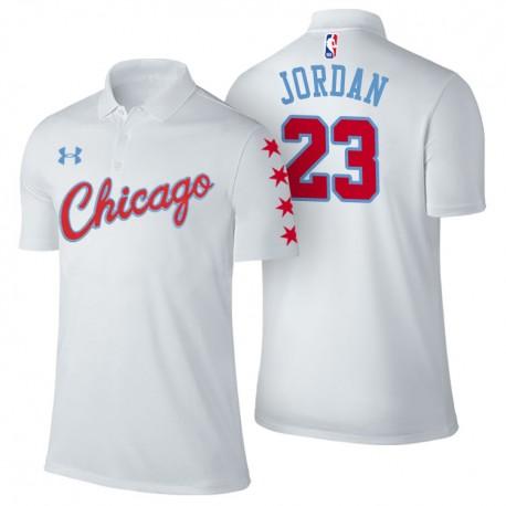 Herren Michael Jordan Chicago Bulls & 23 Stadt Ausgabe Weiß Spieler Performance Polo