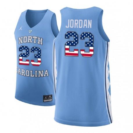 Michael Jordan Männer NCAA North Carolina Tar Heels & 23 Blue Stars and Stripes Basketball Performance-Jersey