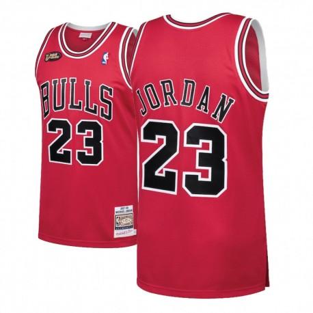 Herren Michael Jordan Bulls & 23 1998 Finals Holz Classics Red Swingman Jersey