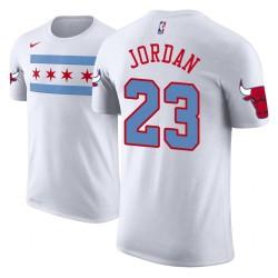 Männer Michael Jordan Chicago Bulls # 23 Stadt Ausgabe Weiß Name # Nummer T-Shirt