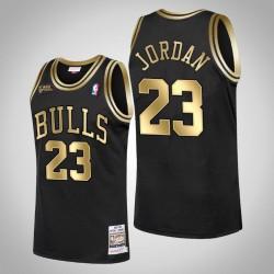 Chicago Bulls Michael Jordan & 23 1998 Finals Champion Goldenes Begrenztes Schwarzes Jersey