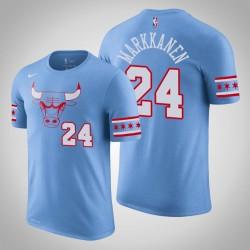 Chicago Bulls & 24 Lauri Markkanen City Blue 2020 Saison Name & Nummer T-Shirt