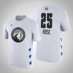2019 NBA All-Star Game Männer Minnesota Timber Derrick Rose # 25 Weißes T-Shirt