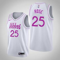 Männer NBA 2018-19 Derrick Rose Minnesota Timberwolves und 25 verdient Ausgabe Weiß Swingman Trikot