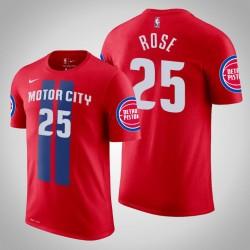 Detroit Pistons # 25 Derrick Rose City Red 2020 Saison Name # Nummer T-Shirt
