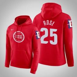 Detroit Pistons & 25 Derrick Rose City Red 2020 Saison PulloverHoodie