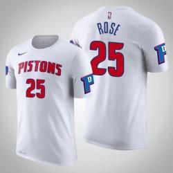 Männer Derrick Rose Detroit Pistons & 25 Verband Weiß Name & Nummer T-Shirt