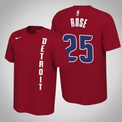 Detroit Pistons & 25 Derrick Rose verdient Red 2020 Saison Name & Nummer T-Shirt