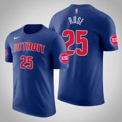 Männer Derrick Rose Detroit Pistons & 25 Icon Blau Name & Nummer T-Shirt