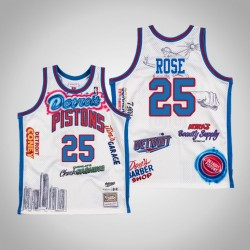 Derrick Rose & 25 White Big Sean x Detroit Pistons Swingman Mitchell Ness Limited Jersey