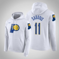 Indiana Pacers und 11 Domantas Sabonis Stadt Weiß 2020 Saison PulloverHoodie