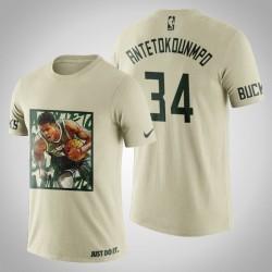 Milwaukee Bucks Giannis Antetokounmpo # 34 Creme Kunstdruck Sprint-T-Shirt