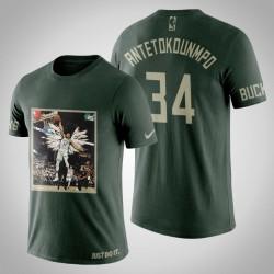 Milwaukee Bucks Giannis Antetokounmpo # 34 Jägergrün Kunstdruck Dunk Schuss-T-Shirt