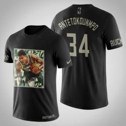 Milwaukee Bucks Giannis Antetokounmpo # 34 Schwarz Kunstdruck Sprint-T-Shirt