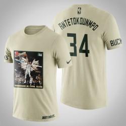 Milwaukee Bucks Giannis Antetokounmpo # 34 Creme Kunstdruck Dunk Schuss-T-Shirt