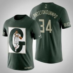 Milwaukee Bucks Giannis Antetokounmpo # 34 Jägergrün Kunstdruck G-Mann-T-Shirt