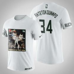 Milwaukee Bucks Giannis Antetokounmpo # 34 Weiß Kunstdruck Dunk Schuss-T-Shirt