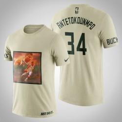 Milwaukee Bucks Giannis Antetokounmpo # 34 Creme Kunstdruck Jungle Verschiebt T-Shirt