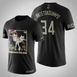 Milwaukee Bucks Giannis Antetokounmpo # 34 Schwarz Kunstdruck Dunk Schuss-T-Shirt
