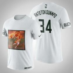 Milwaukee Bucks Giannis Antetokounmpo # 34 Weiß Kunstdruck Jungle Verschiebt T-Shirt