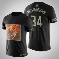 Milwaukee Bucks Giannis Antetokounmpo # 34 Schwarz Kunstdruck Jungle Bewegt T-Shirt