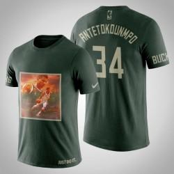 Milwaukee Bucks Giannis Antetokounmpo # 34 Jägergrün Kunstdruck Dschungel Verschiebt T-Shirt