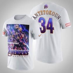 Giannis Antetokounmpo # 34 Comic Avengers Endgame Milwaukee Bucks T-Shirt - Weiß