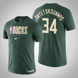 Milwaukee Bucks Giannis Antetokounmpo # 34 Jägergrün Grundlegende Praxis Performance-T-Shirt
