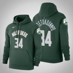 Milwaukee Bucks # 34 Giannis Antetokounmpo Icon Jägergrün 2020 Saison PulloverHoodie
