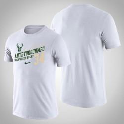 Männer Milwaukee Bucks Giannis Antetokounmpo # 34 Spieler Performance Weiß Name # Nummer T-Shirt