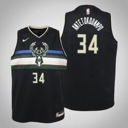 Jugend Giannis Antetokounmpo Milwaukee Bucks # 34 Statement Schwarz 2020 Saison Trikot